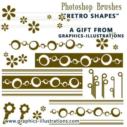 FREE Retro Shapes Photoshop Brushes set