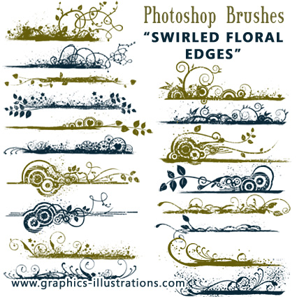 Photoshop Brushes: Swirled Floral Photographic Edges