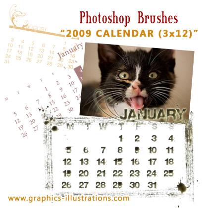 2009 Calendar Photoshop Brushes set (3x12 - 36)