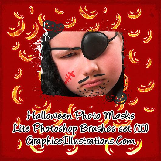 Halloween Photo Masks Photoshop Brushes set 10