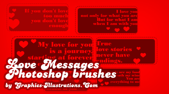 Photoshop brushes - Love Messages (6+6)