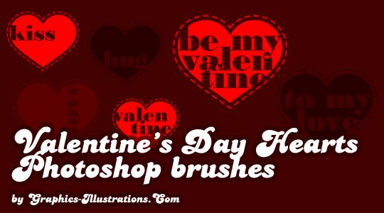 Photoshop brushes - Valentine's Day Hearts (6+6+6)