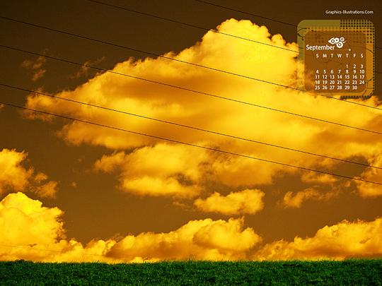 Desktop Wallpaper Calendar: September 2011 and Photoshop brushes by Graphics-Illustrations.Com