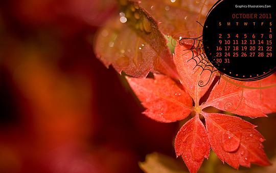 October 2011 Desktop Calender Wallpaper - Red Leaves