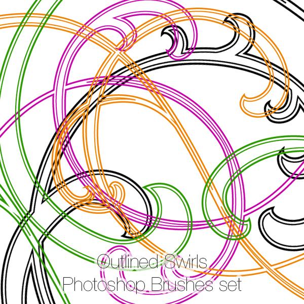 Outlined Swirls Photoshop Brushes Set (23)
