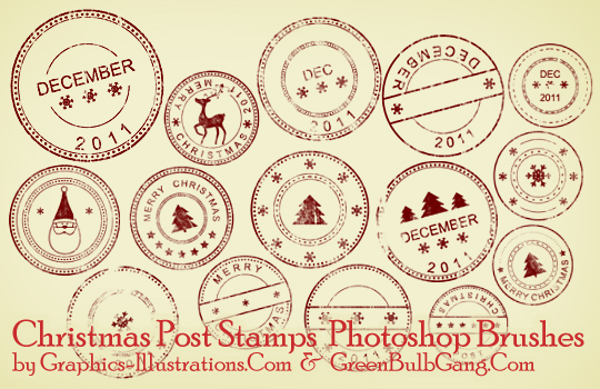 Christmas Post Stamps (15 brushes in three sizes)