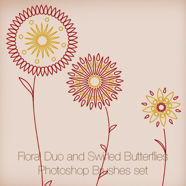 Floral Duo and Swirled Butterflies Photoshop Brushes set