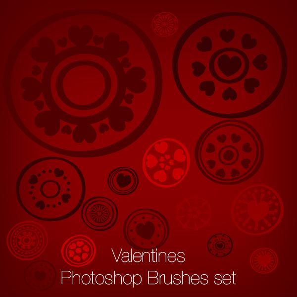 Valentine's Hearts Set Photoshop Brushes
