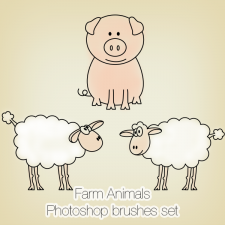 Farm Animals Photoshop Brushes