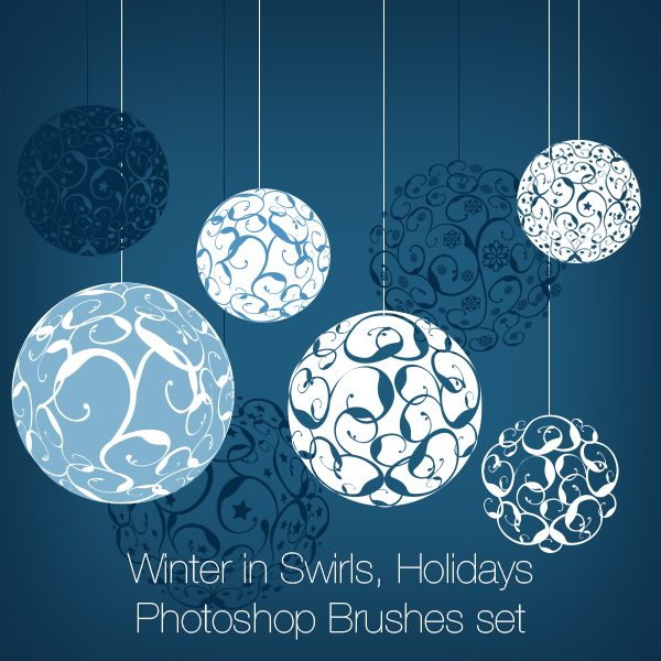 Winter in Swirls, Holidays Photoshop Brushes set