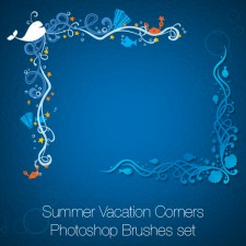 Summer Vacation Corners Photoshop Brushes set