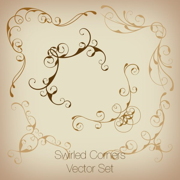 Swirled Corners Vector Set