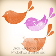 Birds Photoshop Brushes, Watercolor Style