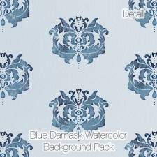 Damask Watercolor Backgrounds (Digital Paper Pack)