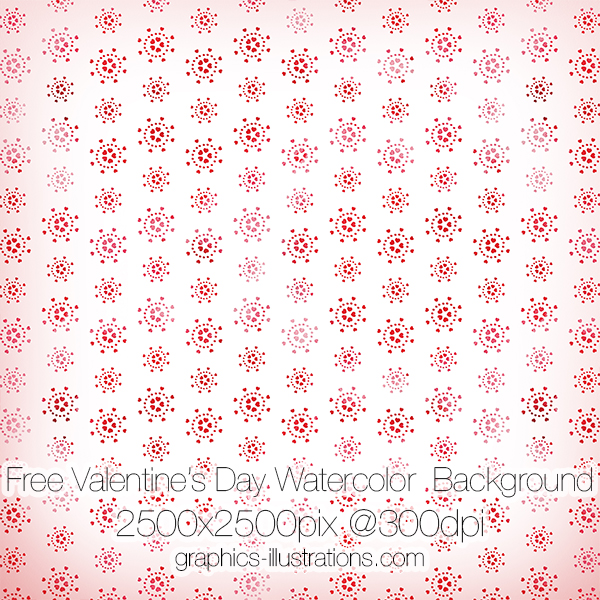 Valentine's Day Watercolor Hearts Pattern Background Free
