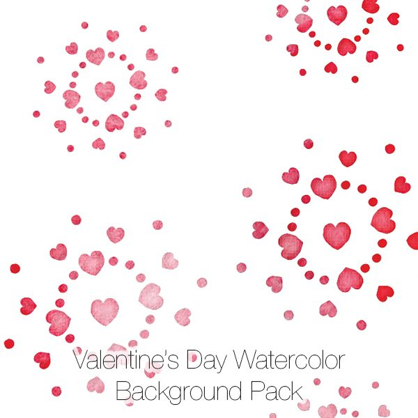 Valentine's Day Watercolor Hearts Pattern Backgrounds Paper Pack