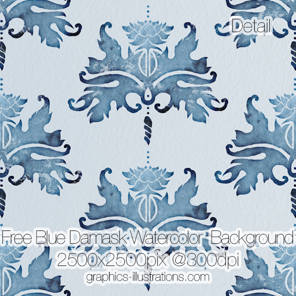 Free download, try before you buy: Blue Damask Watercolor Background, 2500x2500 px