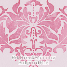 Pink Damask Watercolor Backgrounds Pack