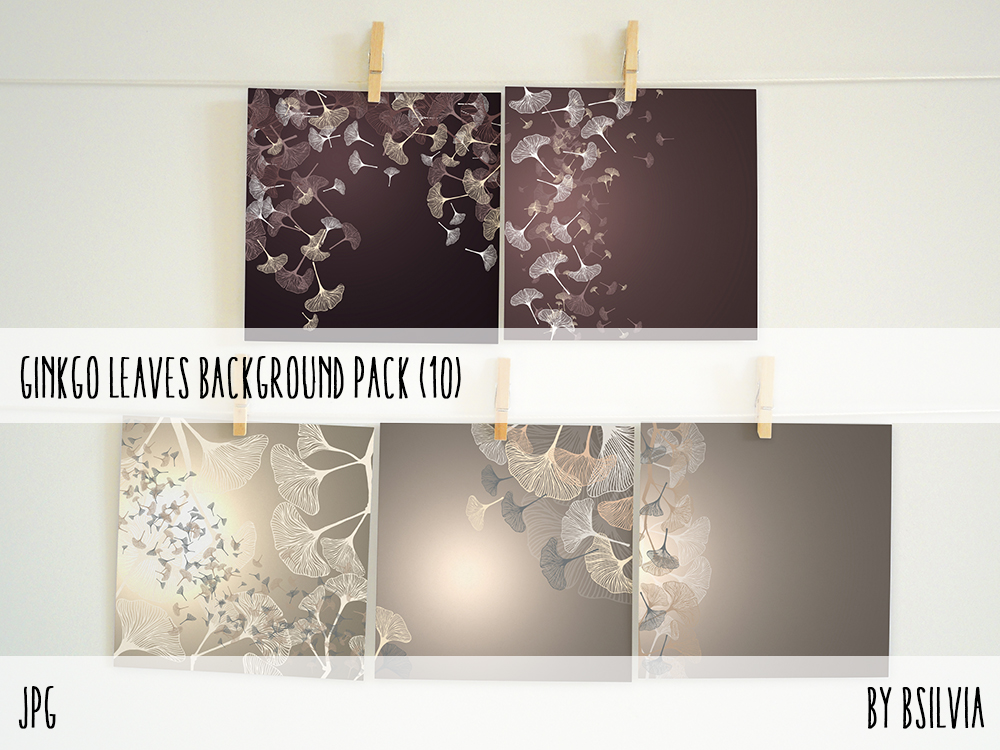 Ginkgo Leaves Background pack, Leafy Backgrounds Pack, Leafy Digital Scrapbooking Paper Pack, Digital Backgrounds with Ginkgo Leaves