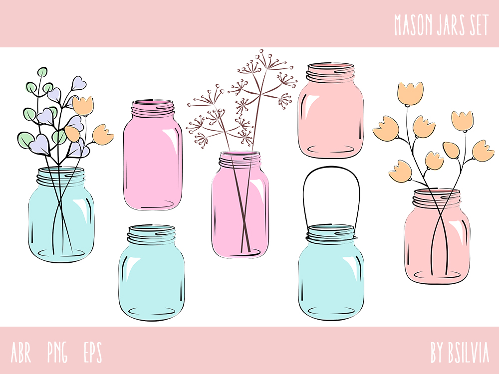 Mason Jars Set, Mason Jars Photoshop Brushes, Mason Jars Clip Art, Vector files (EPS) and PNG transparent files, Retro Design Elements