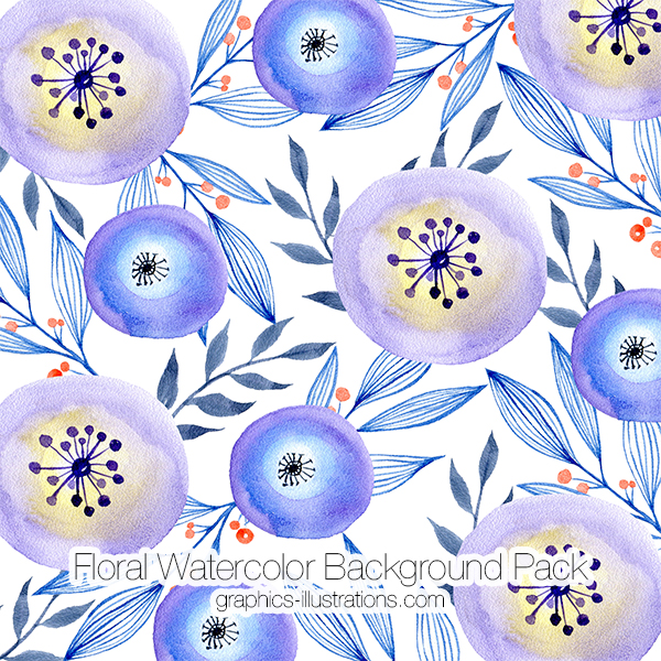 Watercolor Floral Backgrounds Pack On Graphics Illustrations Com