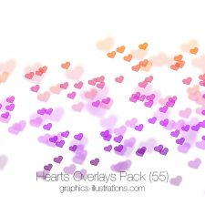 Hearts Overlays, Transparent PNG files with red, pink and colorful hearts available as 55 high-res transparent PNG files, Commercial Use OK