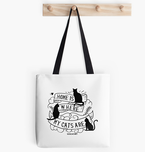 Home is where my cats are - Cat tote bag image