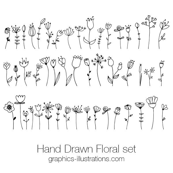 Hand Drawn Floral Doodle Clip Art Set