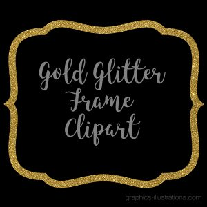 Gold Glitter Frame Clipart, Gold Glitter Border Clipart, Digital Gold Label Clip Art, Commercial Use