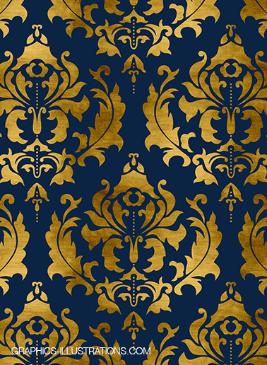 Gold Foil Damask and Gold Glitter Damask Scrapbooking Papers