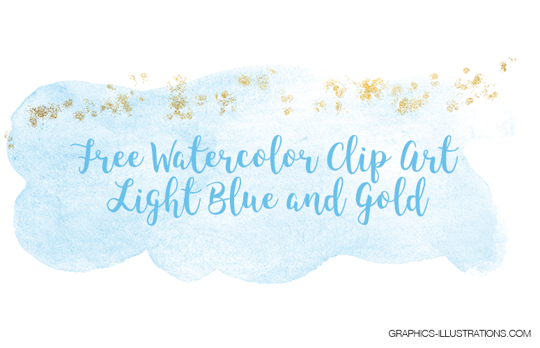 Free Watercolor Clip Art, Light Blue and Gold