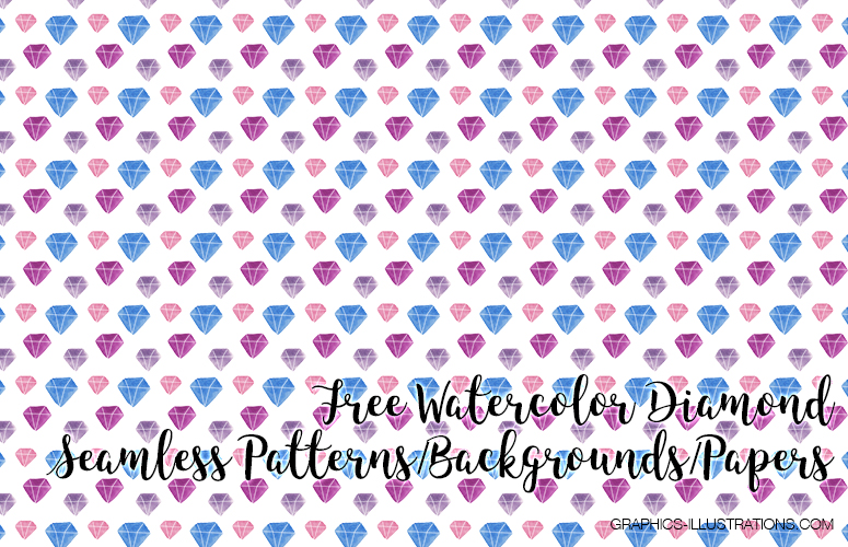 Watercolor Diamond Backgrounds, Seamless Patterns
