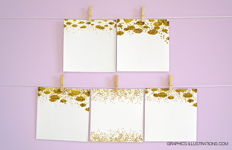 Gold Stars Confetti Borders