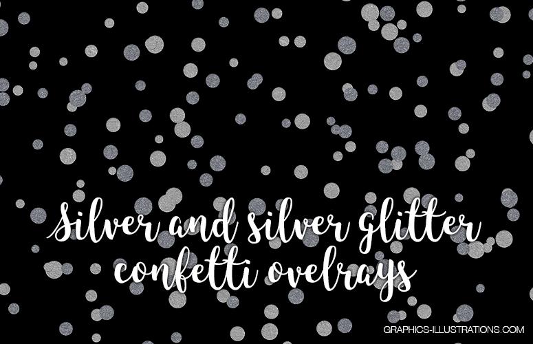 Silver and Silver Glitter Confetti Overlay Set