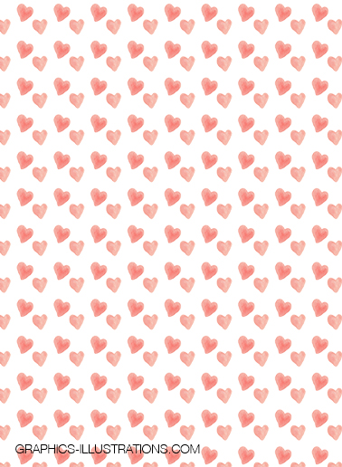 Free Watercolor Hearts Backgrounds, Seamless Pattern
