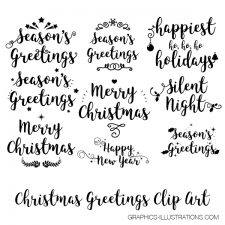 Season's Greetings Clip Art for Hot Foil Printing and Season's Greetings Gold Glitter Clip Art