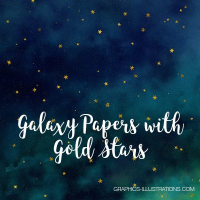 Galaxy Papers with Gold Stars, Galaxy Backgrounds 12x12 inches