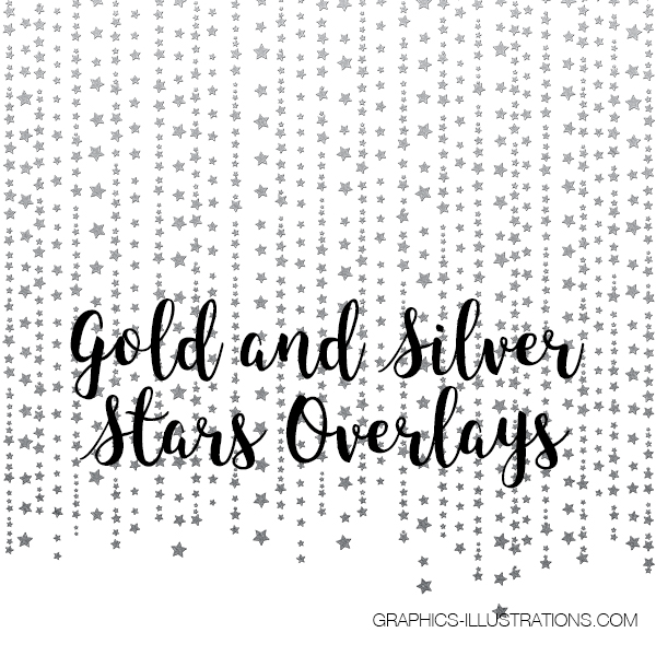 Gold and Silver Stars Overlays
