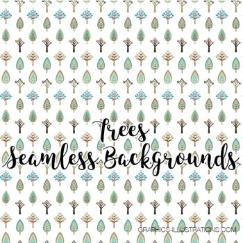 Trees, Seamless Backgrounds, Transparent PNG
