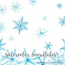 Watercolor Snowflakes Clip Art