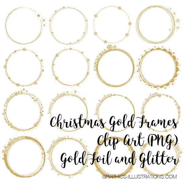 Christmas Gold Frames Clip Art