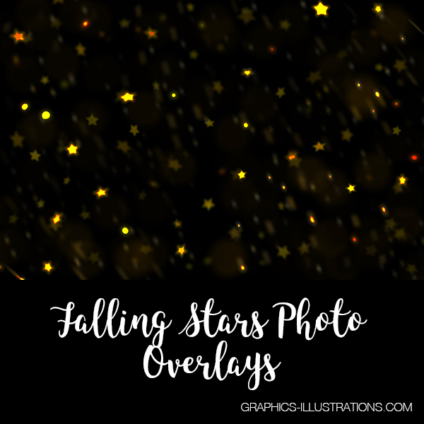 Falling Stars Photo Overlays, Set of 12 JPG and 12 PNG Photo Overlays