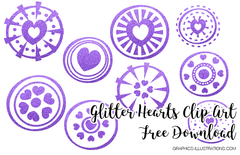 Glitter Hearts Clip Art, Free Download