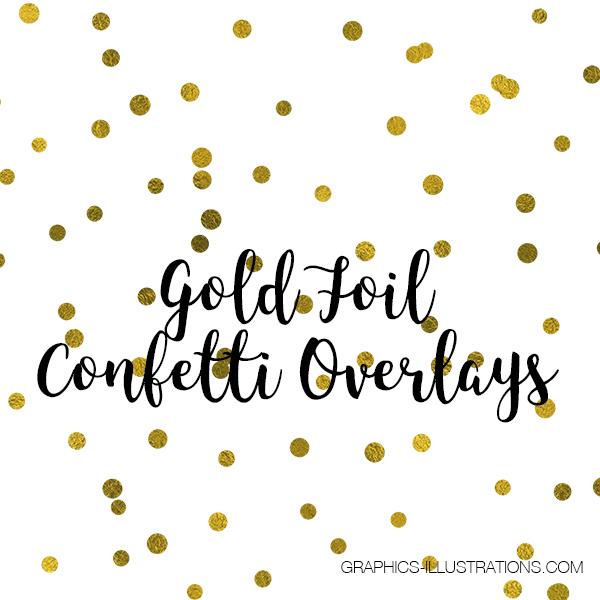 Gold Foil Confetti Overlays