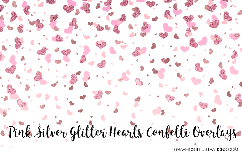 Pink Silver Glitter Hearts Confetti Overlays - Free Download