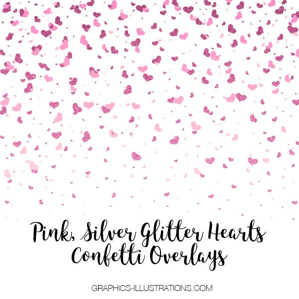 Pink Silver Glitter Hearts Confetti Overlays