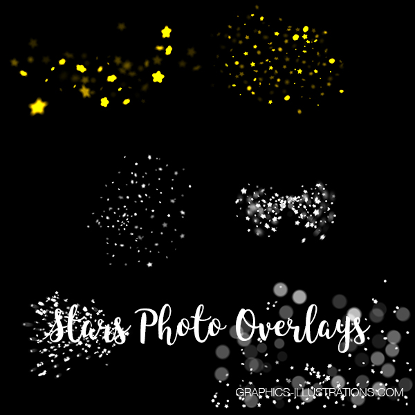 Stars Photo Overlays, Set of 26 JPG and 12 PNG Photo Overlays