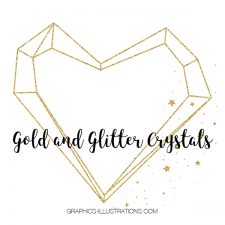 Gold and Glitter Crystal Graphic Elements, Clip Art, set of 64 transparent PNG files