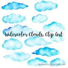 Watercolor Clouds, Clip Art, set of 64 transparent PNG files