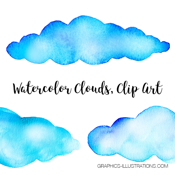Watercolor Clouds, Clip Art, set of 64 transparent PNG files